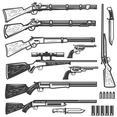 Set of vintage style weapon isolated on white background. Design elements for logo, label, emblem, sign. Vector illustration