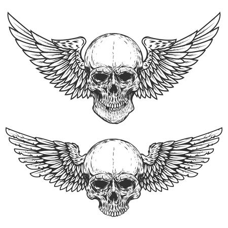 翼のある頭蓋骨が白い背景で隔離のセットです。ポスター、t シャツ、紋章、記号の要素をデザインします。ベクトル図
