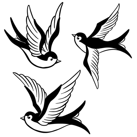 set of the swallow icons. Design elements for poster, t-shirt. Vector illustration. Vettoriali