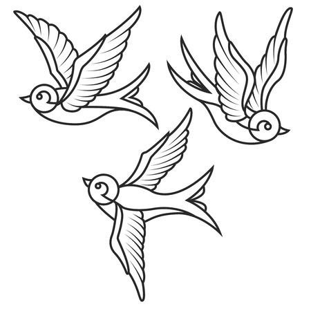 Set van swallow tatoeage sjablonen geïsoleerd op een witte achtergrond. Vogel pictogrammen. Vector illustratie.