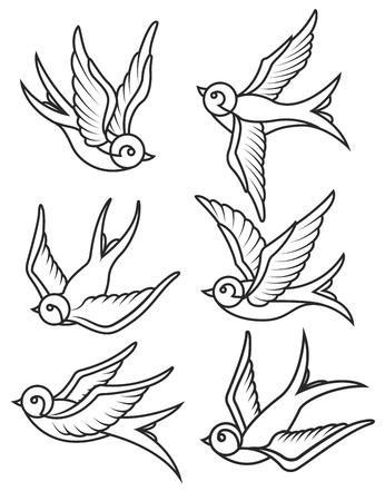 Conjunto de plantillas de tatuaje de tragar aisladas sobre fondo blanco. Iconos de aves Ilustración vectorial Ilustración de vector