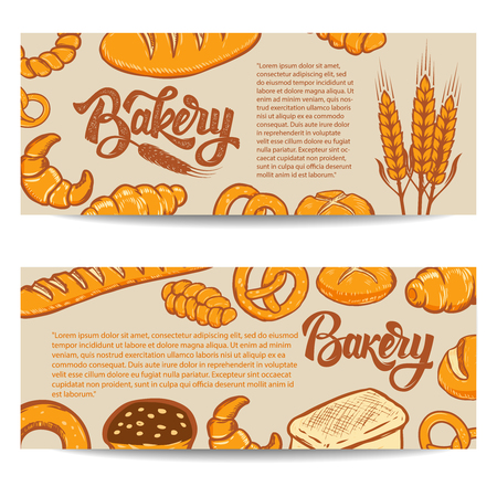 Set of bakery banner templates isolated on white background. Vector illustration. Illustration