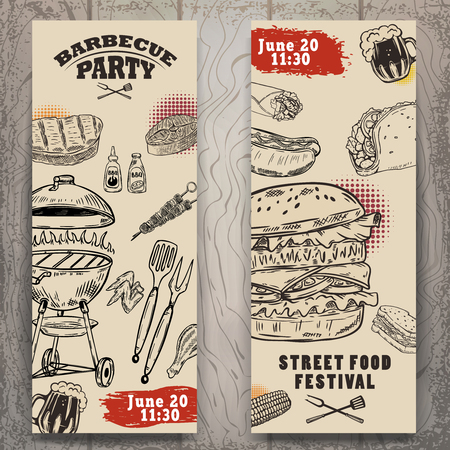 Set of bbq party invitation templates on light background. Grill, beer,meat, burger ,steak. Street food festival. Ilustrace