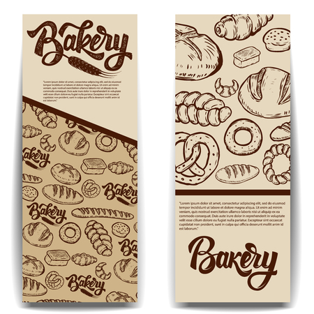 Set of bakery banner templates isolated on white background. Vector illustration. Ilustrace