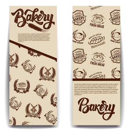 Set van bakkerij banner sjablonen geïsoleerd op een witte achtergrond. Vector illustratie.