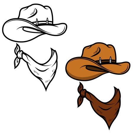 Cowboyhoed en bandana op witte achtergrond wordt geïsoleerd die. Vector illustratie.