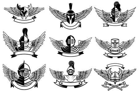 Set of emblems with helmets and wings. Design elements for label, emblem, sign, brand mark. Vector illustration. Illustration