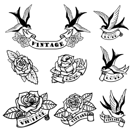 Set of tattoo templates with swallows and roses. Old school tattoo. Vector illustration. Иллюстрация