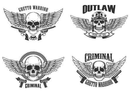 Set of winged skulls with weapon. Design elements for emblem, sign, label, t-shirt. Vector illustration.