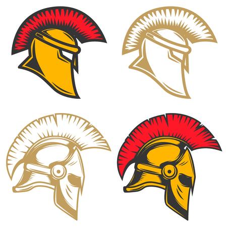 Set of spartan helmets. Design elements for label, emblem, sign, brand mark. Vector illustration. Illustration