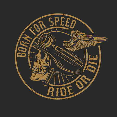 racer skull in winged helmet isolated on dark background. Design element for emblem, poster, t-shirt. Vector illustration.