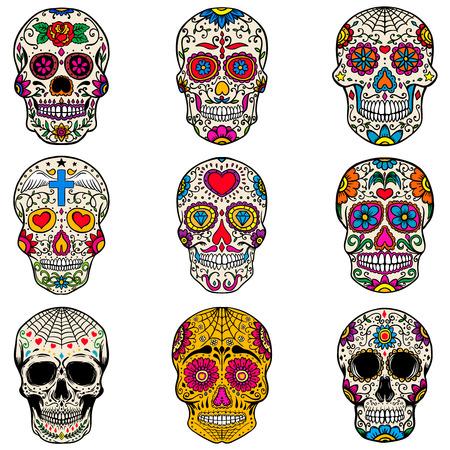 Conjunto de cráneos del azúcar aislados en el fondo blanco. Dia de los Muertos. Dia de los muertos Ilustracion vectorial