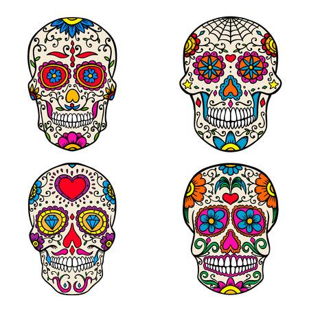 Set van suiker schedels geïsoleerd op een witte achtergrond. Dag van de Doden. Dia de los muertos. Vector illustratie. Vector Illustratie