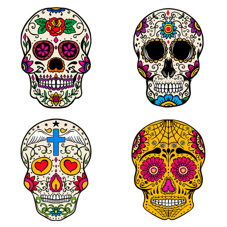 Set of sugar skulls isolated on white  background. Day of the dead. Dia de los muertos. Vector illustration Çizim