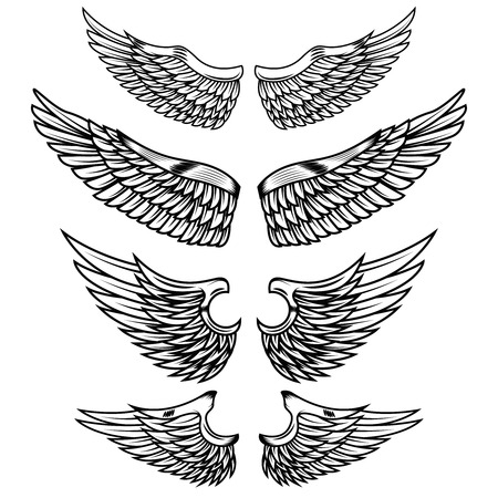 白い背景に分離された翼のセットです。ロゴ、ラベル、紋章、記号、バッジのデザイン要素です。ベクトル図