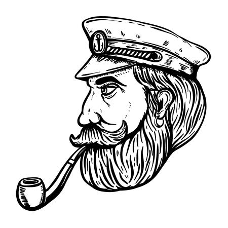 Illustratie van zeekapitein met rokende die pijp op witte achtergrond wordt geïsoleerd. Ontwerpelement voor poster, t-shirt vectorillustratie