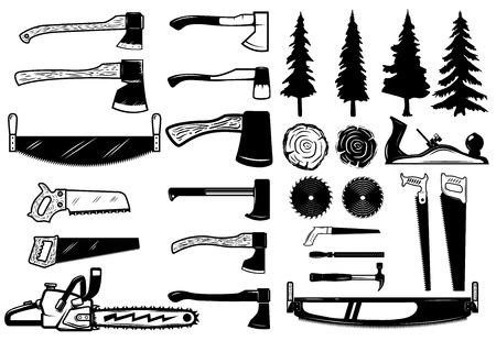 Satz Tischlerwerkzeug-, -holz- und -bäumeikonen. Design-Elemente für Logo, Label, Emblem, Zeichen. Vektor-Illustration Standard-Bild - 82110363