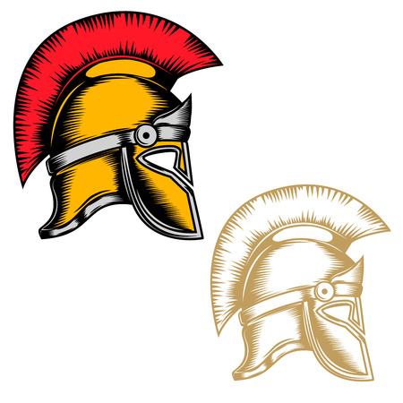 Reeks spartaanse helmen die op witte achtergrond wordt geïsoleerd. Ontwerpelementen voor logo, label, embleem, teken, merkmarkering. Vector illustratie Stock Illustratie