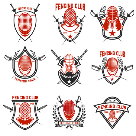 Set of Fencing club labels. Fencing swords. Design elements for emblem, sign, badge. Vector illustration Illusztráció