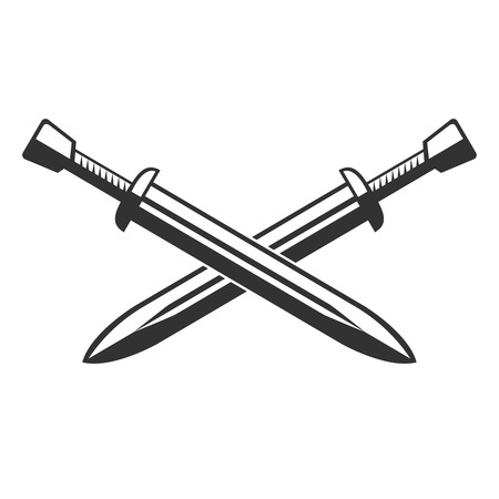 Two crossed swords isolated on white background. Vector illustration