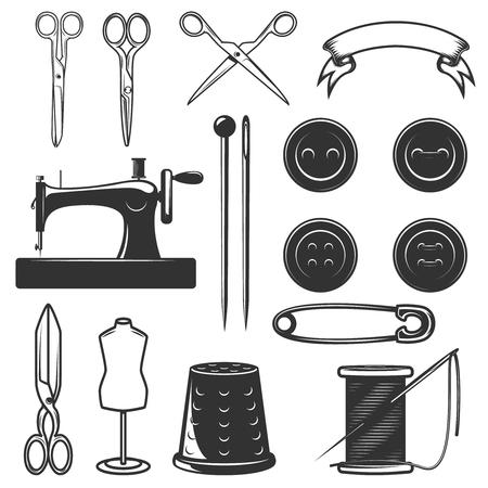 仕立て道具のデザイン要素を設定します。ロゴ、ラベル、エンブレム、サイン、ブランド マークのデザイン要素です。ベクトル図