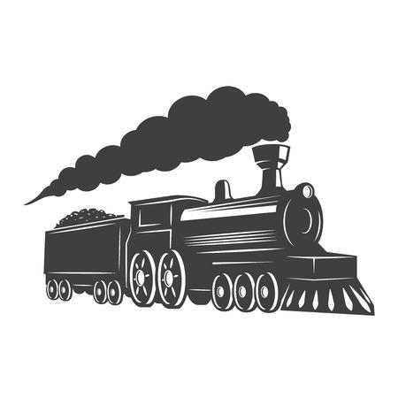 Tren de la vendimia aislado en el fondo blanco. Elemento de diseño para logotipo, etiqueta, emblema, signo. Ilustración del vector