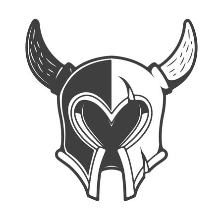 Viking helmet isolated on white background. Design element for logo, label, emblem, sign. Vector illustration