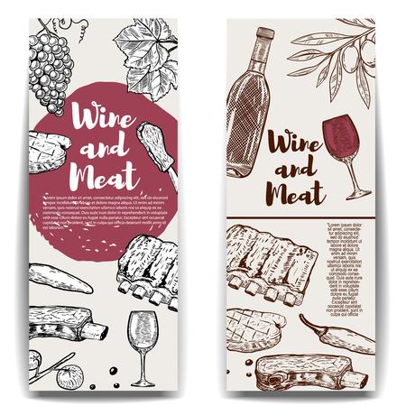 Modelo de banner de vinhos e carnes. Bife grelhado, costelas, azeitonas, vinho, uva. Elementos de design para menu, folheto, cartaz. Ilustração do vetor Foto de archivo - 82616939