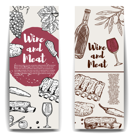 Wine and Meat banner template. Grilled steak, ribs, olives, wine, grape. Design elements for menu, flyer, poster. Vector illustration