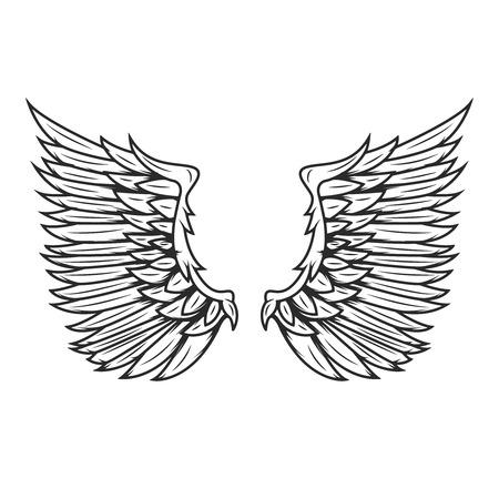 Alas aisladas sobre fondo blanco. Elementos de diseño para logotipo, etiqueta, emblema, signo, insignia. Ilustración del vector Foto de archivo - 82616936