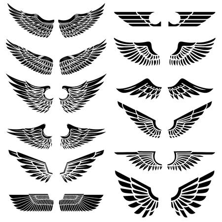 Reeks vleugels op witte achtergrond worden geïsoleerd die. Ontwerpelementen voor logo, label, embleem, teken, badge. Vector illustratie Stock Illustratie