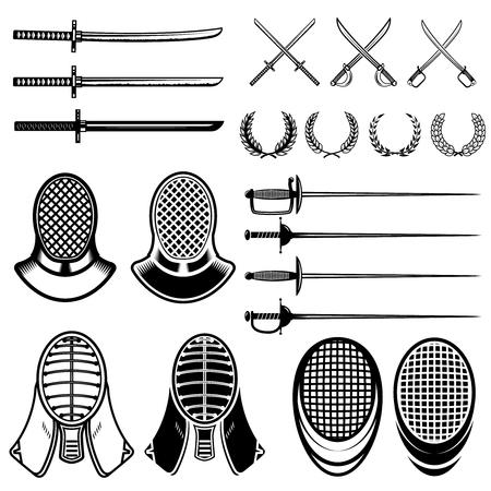 Set van schermen ontwerpelementen. Schermende zwaarden, maskers, japan katana. Vector illustratie Stock Illustratie