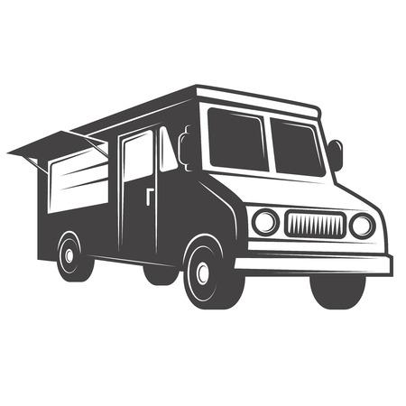 食品トラック エンブレムは、白い背景で隔離。ラベル、ブランド マーク、サイン、ポスターのデザイン要素です。ベクトル図  イラスト・ベクター素材