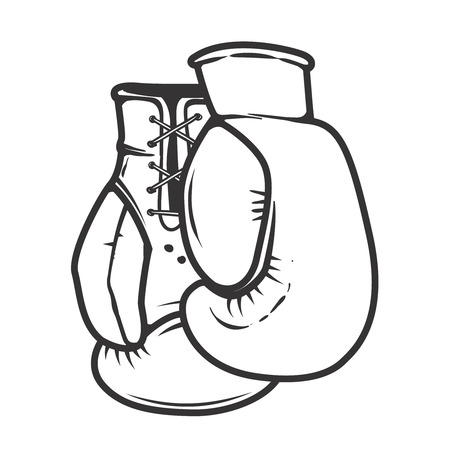 Boxing gloves isolated on white background. Design elements for logo, label, emblem, sign. Vector illustration