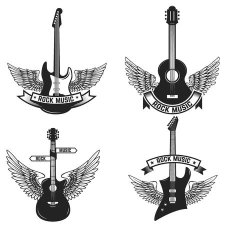 ギターと翼のラベルのセット。ロック ・ ミュージック。エンブレム、サイン、バッジのデザイン要素です。ベクトル図