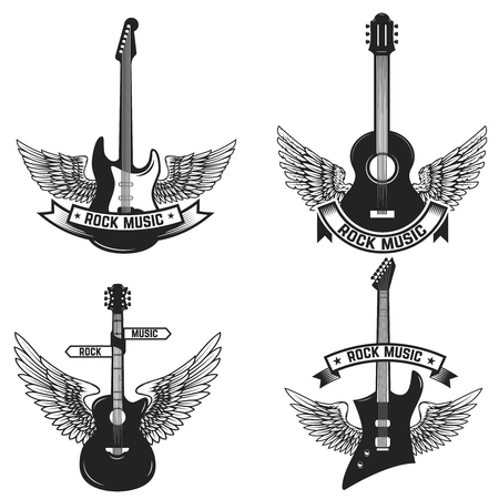 Set of labels with guitars and wings. Rock music. Design elements for emblem, sign, badge. Vector illustration