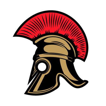 Spartanischer Helm. Gestaltungselemente für Emblem, Zeichen, Abzeichen. Vektor-Illustration Standard-Bild - 82616951
