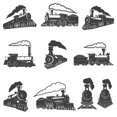 白い背景に分離されたビンテージ列車のセット。ラベル、ブランド マーク、サイン、ポスターのデザイン要素です。ベクトル図