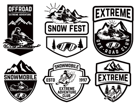 Set of snowmobile emblems isolated on white background. Design element for label, brand mark, sign, poster. Vector illustration