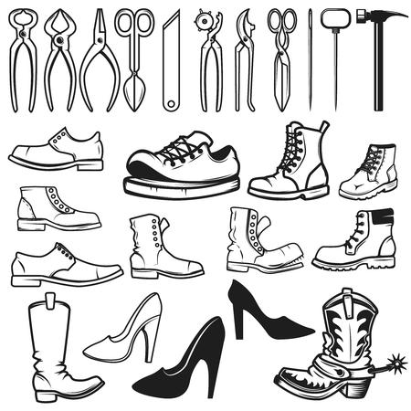 Shoe repair design elements. Tools for shoe repair. Shoes. Vector illustration