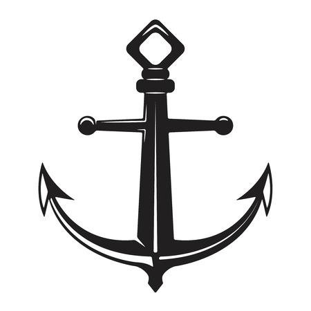 Vintage anchor illustration isolated on white background. Vector illustration