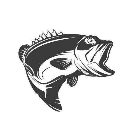 低音の魚アイコンを白い背景に分離します。ロゴ、エンブレム、サイン、ブランド マークの要素をデザインします。 ベクトル図