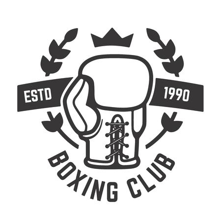 Modello emblema del club di boxe. Guantoni da boxe. Elemento di design per etichetta, marchio, segno, poster. Illustrazione vettoriale Archivio Fotografico - 82618934