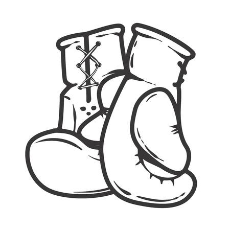 Bokshandschoenen geïsoleerd op een witte achtergrond. Ontwerpelementen voor logo, label, embleem, teken. Vector illustratie Stockfoto - 82618932