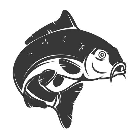 Pesce carpa isolato su sfondo bianco. Elemento di design per logo, emblema, segno, marchio. Illustrazione vettoriale Logo