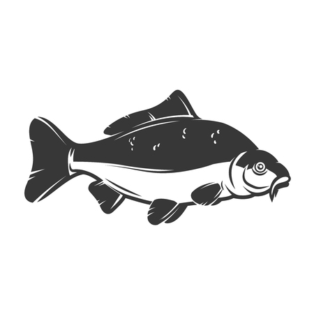 Carp fish isolated on white background. Design element for logo, emblem, sign, brand mark.  Vector illustration