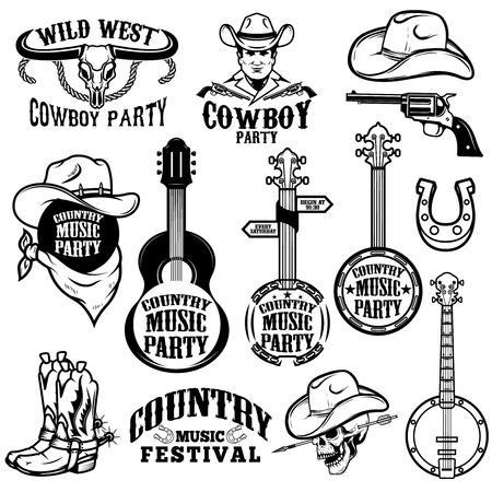Zestaw emblematów festiwalu muzyki country i elementów projektu