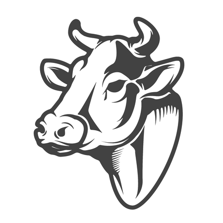 Ikona głowa krowa na białym tle Ilustracje wektorowe