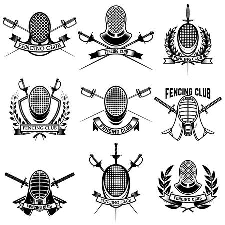 Set of Fencing club labels. Fencing swords. Design elements for emblem, sign, badge. Vector illustration Çizim
