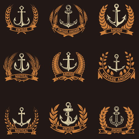 Set of the emblems with anchors and wreaths in golden style. Design elements for logo, label, emblem, sign, badge.